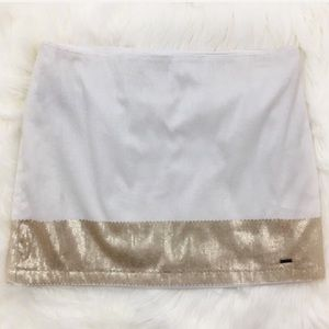 Hollister Gold & White Sequin Mini Skirt